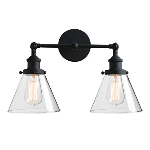(Phansthy 2-Light Industrial Wall Light Antique Sconce Light Fixture with 7.3 Inches Clear Glass Flared Shade (2-Light Clear))