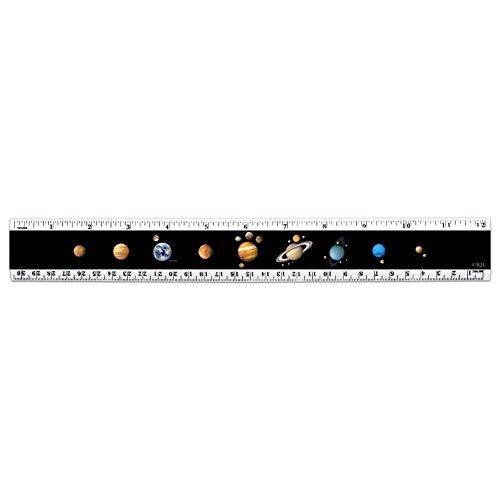 Solar System Planet Order Mercury Venus Earth Mars Jupiter Saturn 12 inch Standard and Metric Plastic Ruler ()