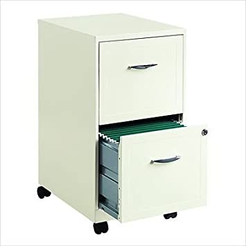 Filing Cabinet File Storage 2 Drawer Steel Vertical Hanging File Mobile In  White
