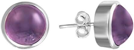 Natural 10 mm Amethyst Half Ball Post Sterling Silver Earrings