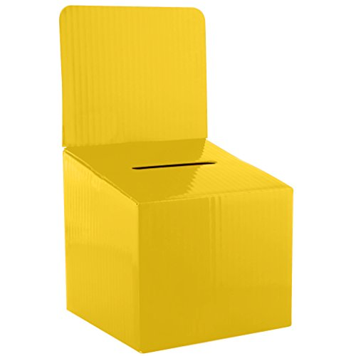 MCB Raffle, Ticket Cardboard Box- 6x6x12 inches, (5 Pack) Great for Community Events. (Yellow)