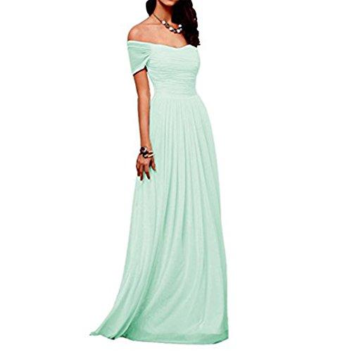 Chiffon Amore Off Shoulder Bridesmaid Prom Long Dress Women Dress Bridal Mint wqEqafR
