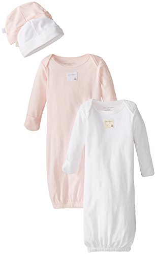 Burts-Bees-Baby-Baby-Girls-Set-of-2-Gowns-2-Caps-100-Organic-Cotton