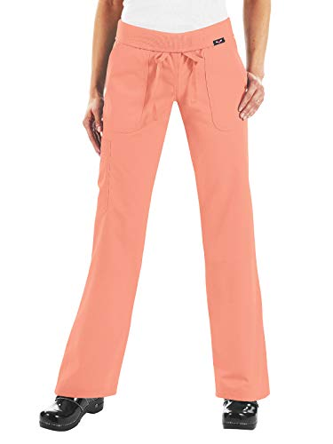 - KOI Women's Morgan Ultra Comfy Yoga-Style Cargo Scrub Pants with Rib-Knit Waist, Sweet Coral, X-Small