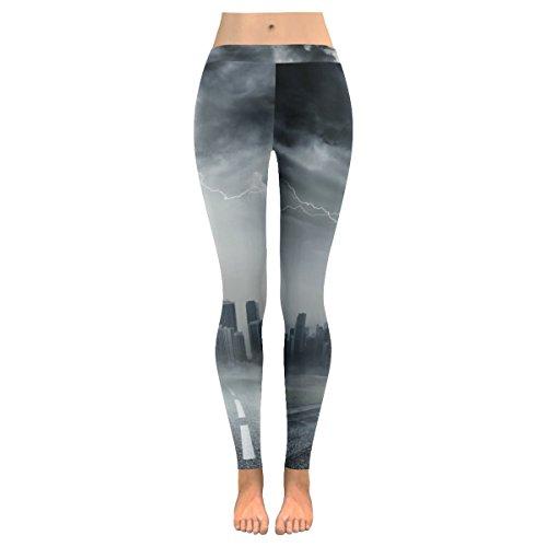 InterestPrint Tornado On Business Road Custom Stretchy Capri Leggings Skinny Pants For Yoga Running Pilates Gym XL by InterestPrint