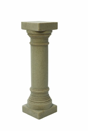 "EMSCO Group Greek Column Statue – Natural Sandstone Appearance – Made of Resin – Lightweight – 32"" Height Ceramic Pedestal"