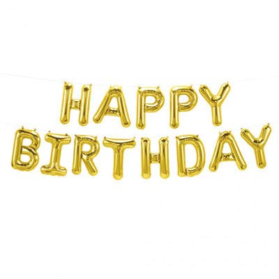 Gold Happy Birthday Balloons Banner,Aluminum Foil Balloons Alphabet Balloons for Birthday Party Decoration and Supplies: Health & Personal Care