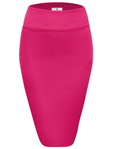 Fuschia Womens Skirt (Womens Below Knee High Waist Office Pencil Skirt, S2006, Large, Fuschia)