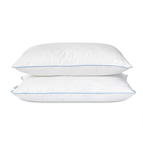 eLuxurySupply Bed Pillow - Premium Down Alternative Sleeping Pillows w/ 100% Cotton Casing Cover - Medium Density Loft for Back and Side Sleepers - Pack of 2 Pillows Standard/Queen Size 20