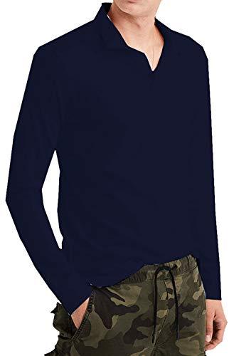 - American Eagle Mens Long Sleeve Pique Polo, Blue (S)