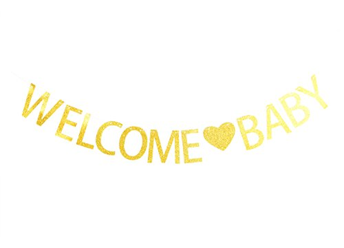 Lovely BITON Gold Welcome Baby Letters Banner Decoration
