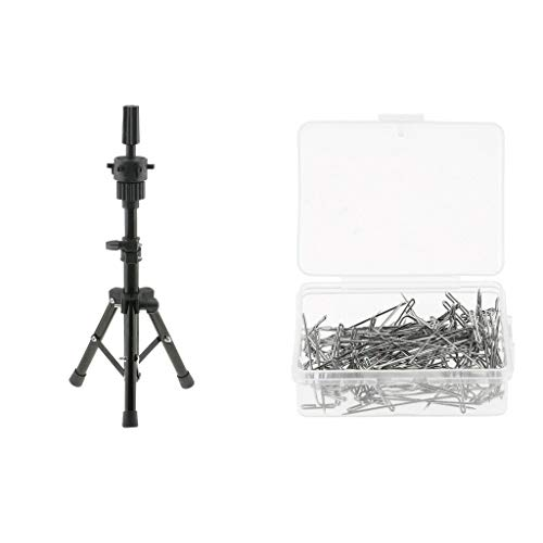 Training Mannequin Practice Head Cosmetology Holder Tripod Stand+T Needles (16in Flower Cabinet Knob)