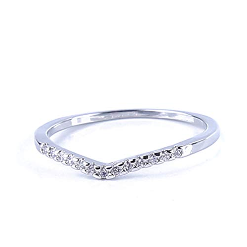 - Silver Crystal Diamond V-Shape Wedding Ring Elegant Charm Women Finger Engagement Rings Silver Vintage Jewelry No.8