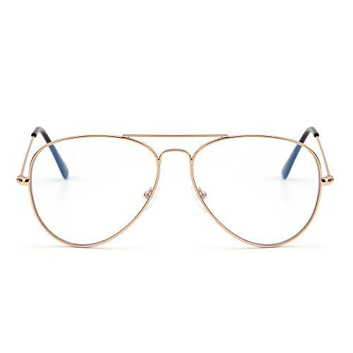 Blue Light Blocking Computer Reading Glasses, Retro Aviator Style Reduce Eye Strain Anti Glare Clear Lens Video Eyeglasses Men Women (Gold/Clear) ()