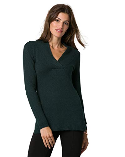 LE CHÂTEAU Textured V-Neck Sweater,S,Forest Green