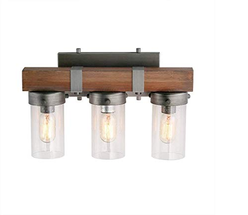 LOG BARN 3 Lights Wooden Vanity Light in Real Distressed Wood and Brushed Antique Silver Finish with Cylindrical Bubbled Glass Shades, 18.1
