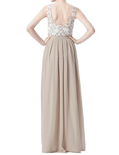 Long Dress Sleeveless Bridesmaid Gown Lace Party Prom Sand Dress Chiffon JAEDEN pqUdd