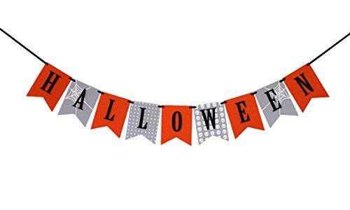 Halloween Super Durable Banner Bunting Laser Cut Felt 50 inches (Halloween Web Banners)