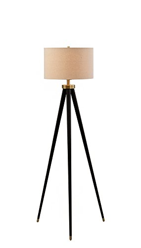 Catalina Lighting 19936-000 Contemporary 3-way Tripod Floor Lamp with Metal Accent & Linen Shade, without bulb, Bronze/Antique Brass