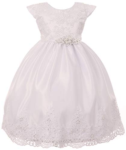 Infant Baby Toddler Simple Beaded Lace Baptism Christening Flower Girl Dress USA (42TR0K) White 2