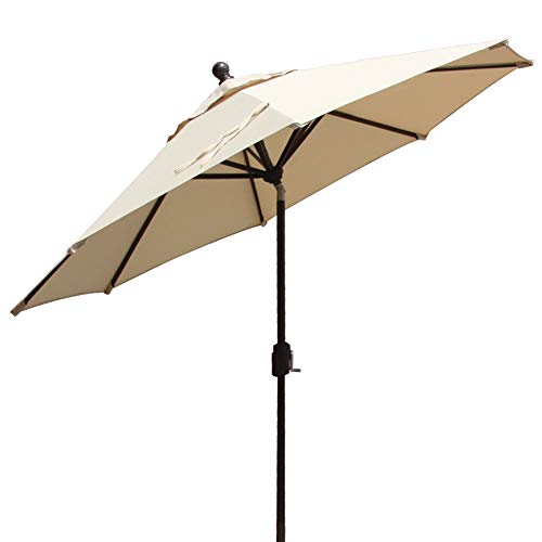 EliteShade 9Ft Market Umbrella Patio Outdoor Backyard Aluminum Table Umbrella, Bonus Weatherproof Cover (FadeSafe Beige) Review