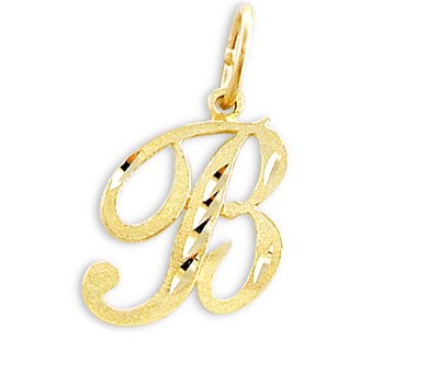 Cursive B Letter Pendant 14k Yellow Gold Initial Charm Solid (Gold Letter 14k Yellow)