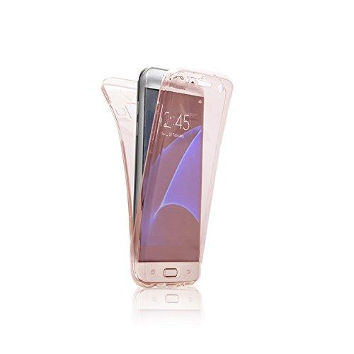 Funda Doble para Samsung Galaxy A7 2015, Vandot Bling Brillo Carcasa Protectora 360 Grados Full Body | TPU en Transparente Ultra Slim Case Cover | Protección Completa Delantera y Trasera Cocha Smartph Bling Pink