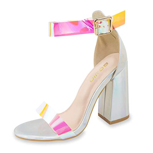 - Women's High Heel Platform Dress Pump Sandals Ankle Strap Block Chunky Heels Party Shoes - 9 Rose