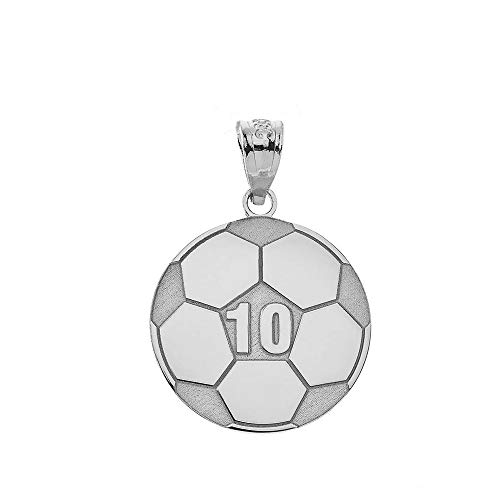 (Sports Charms 925 Sterling Silver Customized Soccer Ball Pendant with Your Name and Number)