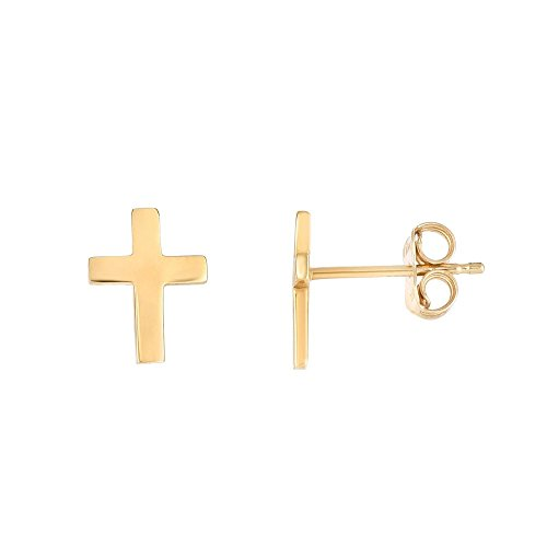 14k Yellow Gold Shiny 7x5mm Shiny Flat Skinny Cross Post Style Earrings With Push Back Clasp 14k Yellow Gold Pierced Earrings