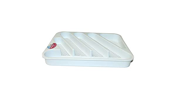 Cubertero pl/ástico blanco 36.5 x 29.5 x 3.5 cm BG Espazio