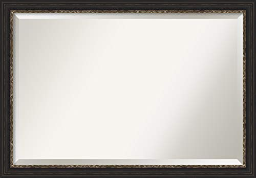 Amanti Art Vanity Bathroom Accent Bronze Narrow Frame | Wall Mounted Mirror, Glass Size 36x24,