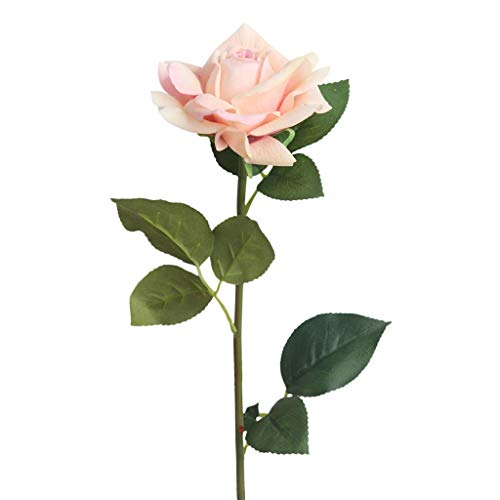Mikilon Artificial Silk Flowers Fake Rose for Wedding Party Home Design Bouquet Decor Flannel Touch 1 Pcs (Peach Pink)