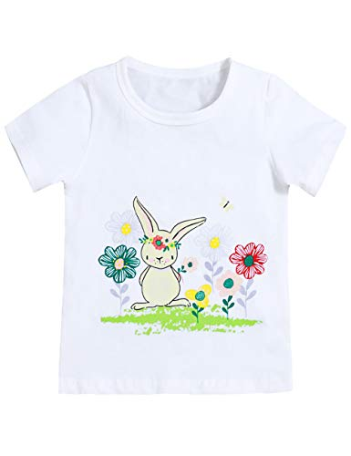 Easter Toddler Girls Bunny Tops Outfit Sleeve T-Shirt (2-3T) White -