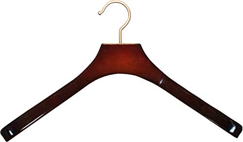 Deluxe Contoured Wooden Coat Hanger, Cherry Finish with 2 Inch Wide Shoulders and Brushed Chrome Hook (Box of 24) by The Great American Hanger Company by The Great American Hanger Company (Image #4)