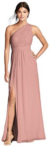 (David's Bridal Long One-Shoulder Crinkle Chiffon Bridesmaid Dress Style F18055, Ballet,)