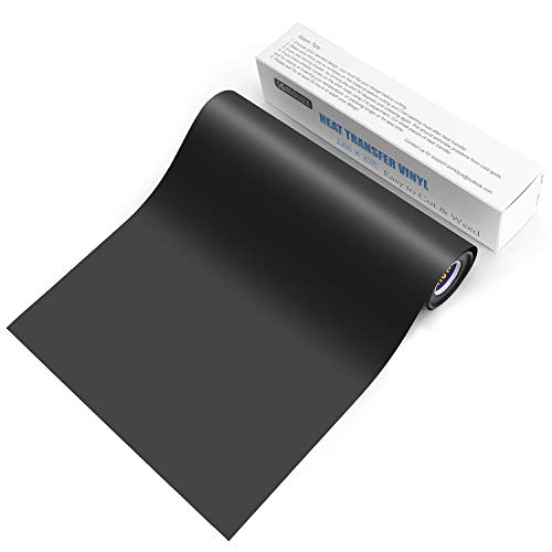HTV Iron on Vinyl 12inch x 25feet Roll by Somolux for Silhouette and Cricut Easy to Cut & Weed Iron on Heat Transfer Vinyl DIY Heat Press Design for T-Shirts Glossy Black