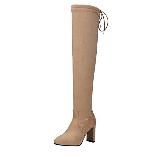 UH Femmes Chaussures Bottines de Cuissarde avec Lacets à Talons Haut Bloc Bout Pointu Chic Chaud pour L'hiver Jaune 9F6Txl3gx