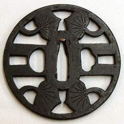 鐔 葵の図 鉄地(t-246)(刀装具時代鐔) 美術刀剣 真剣 日本刀 鍔鐔ツバ刀装具 B07T7NXFZN