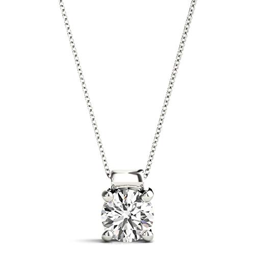 Charles & Colvard Moissanite Pendant Necklace Forever Brilliant Round-Cut 6mm 0.69 Carat Moissanite 14K White Gold Pendant Necklace for Women