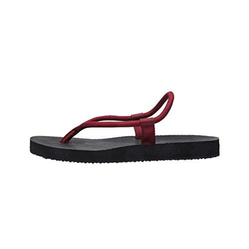 Hombres Mujeres Pareja Ligero Simple Verano Colorido Piso Sandalia Deslizador Trenzado Cuerda Chanclas Para Playa Baño Rojo