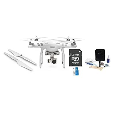DJI Phantom 3 Advanced Quadcopter Drone w/3-Axis Gimbal Budget Bundle with 32GB Micro SDHC Card, Extra Propeller Set, Lens Cleaning Kit