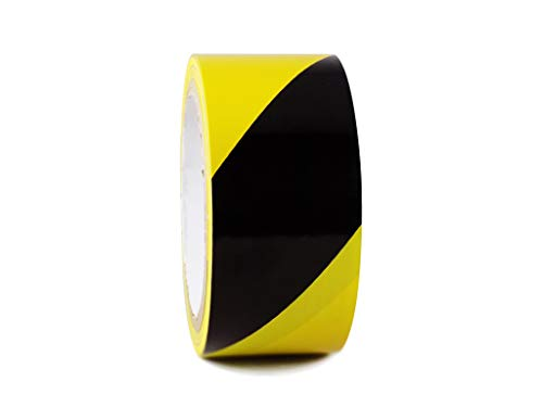 WOD Black & Yellow Heavy-Duty Laminated Hazard Striped Safety Warning Tape Shiny Surface - For Floor Lane Marking (Available in Multiple Sizes & Colors): 4 in. X 18 yds. (Pack of 6)