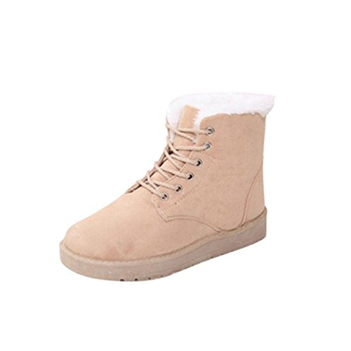 Womens Winter Boots, Egmy Flat Ankle Lace Up Fur Lined Winter Warm Snow Shoes 2017 Beige