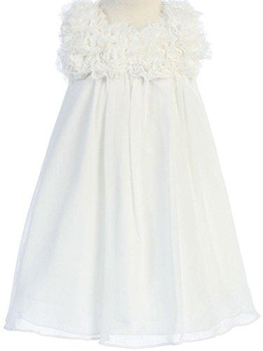 Big Girls' Elegant Chiffon Floral Baby Doll Flowers Girls Dresses Ivory 8