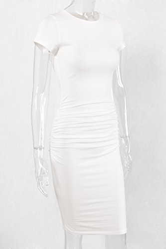 Sundress Bodycon Ruched Missufe White Sheath Women's Casual Ivory Midi Dress 7qUxnwaPx