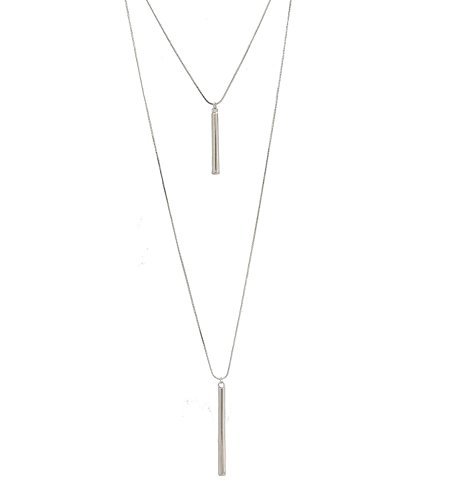 Seni Jewelry Bar Pendant Necklace Layered Necklace Multi-layer Y Necklace Long Snake Chain Long Sweater Chain Double Layered Choker Necklace For Women Girls Silver (Double Strand Chain Necklace)
