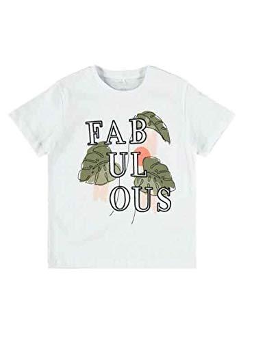 NAME IT NKFDAMAYA Boxy SS T-shirt, helder wit, 134-140 voor meisjes