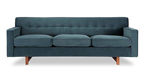 Kardiel Kennedy Mid-Century Modern Classic Sofa, Neptune Plush Velvet