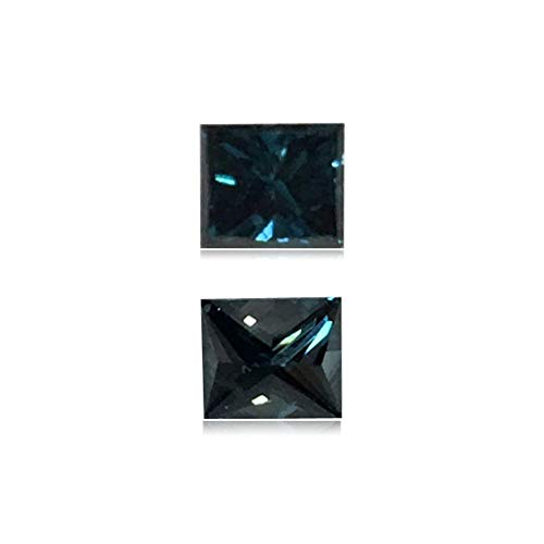 (Mysticdrop 0.25 Cts of 3.3x3.7x2.5 mm SI2 Princess Cut Teal Blue Diamond (1 pc) Loose Color Diamond)